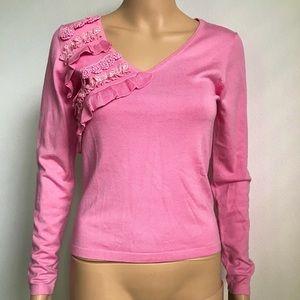BCBGMaxAzria Ruffle Form Fitting V-neck Sweater S